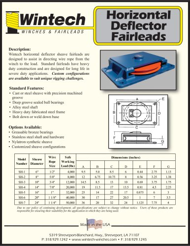 Horizontal Deflector Fairleads