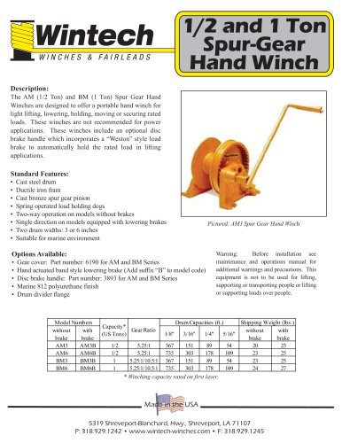 Spur Gear Hand Winches - 1/2 and 1 Ton
