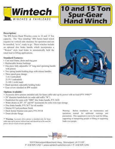 Spur Gear Hand Winches - 10 and 15 Ton