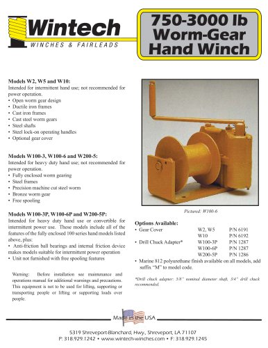 Worm Gear Hand Winches - 750-3000 lbs
