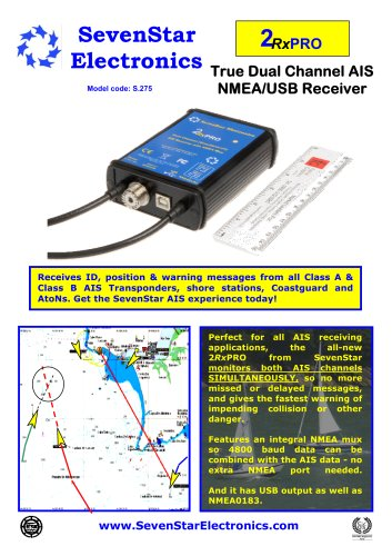 2RxPRO Low cost Dual Channel AIS Receiver with NMEA mux/USB