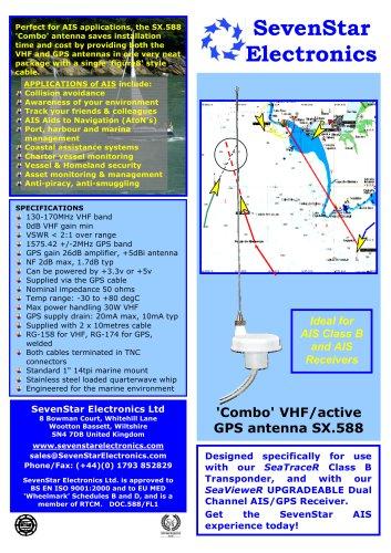 SX 588 'Combo' AIS/active GPS antenna - SevenStar
