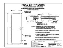 Head Door with Lamanate Covered Plywood and Powdercoated Aluminum Frame