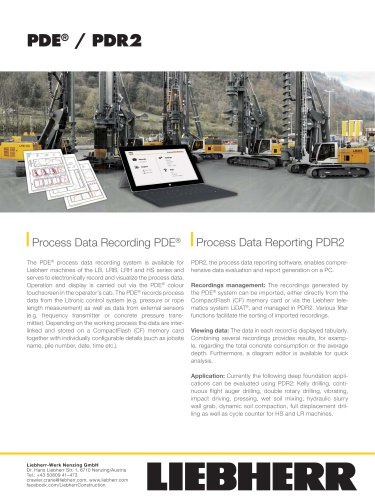 recording PDE and process data reporting PDR
