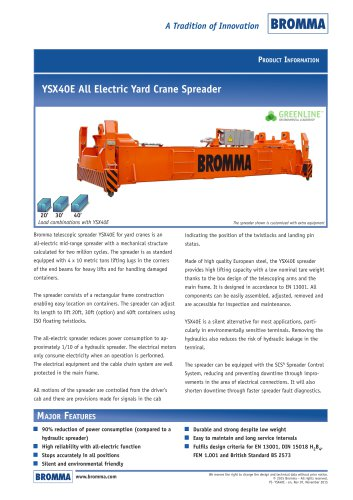 YSX40E All Electric Yard Crane Spreader