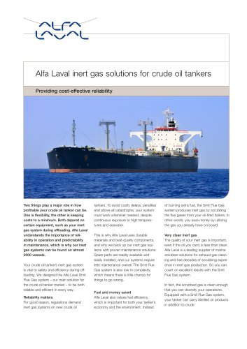 Alfa Laval inert gas solutions for crude oil tankers