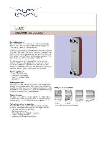 CB20 Brazed Plate Heat Exchanger