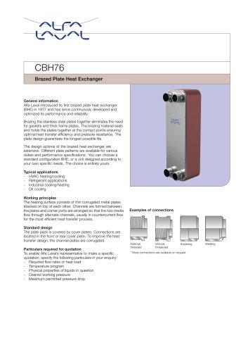 CBH76 Brazed Plate Heat Exchanger