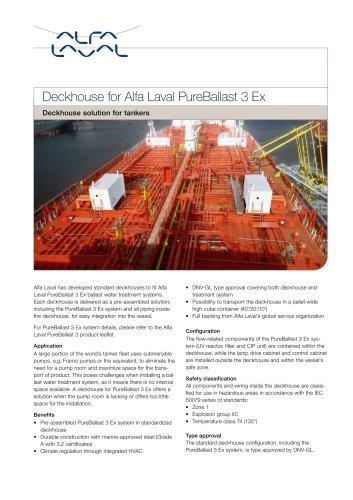 Deckhouse for Alfa Laval PureBallast 3 Ex