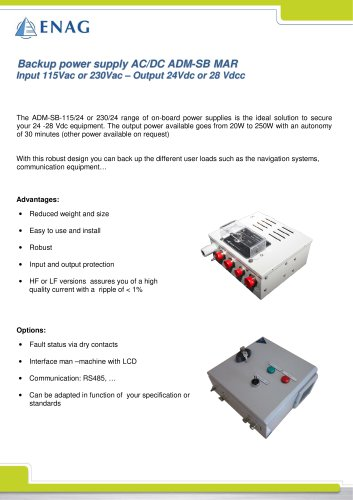Backup power supply AC/DC ADM-SB MAR Input 115Vac or 230Vac – Output 24Vdc or 28 Vdcc