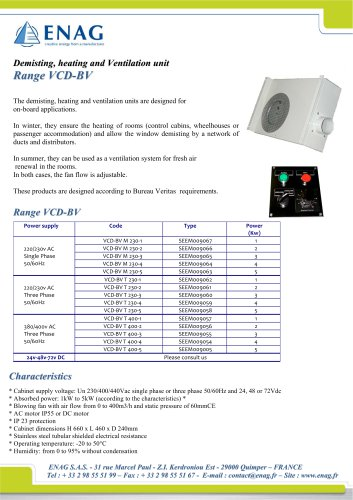 DEMISTING, HEATING AND VENTILATION UNIT AC AND DC