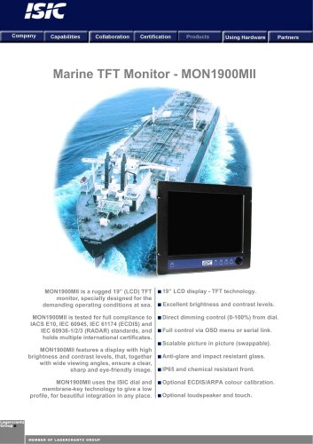 LCD screen for ships<br>(for console) 19''