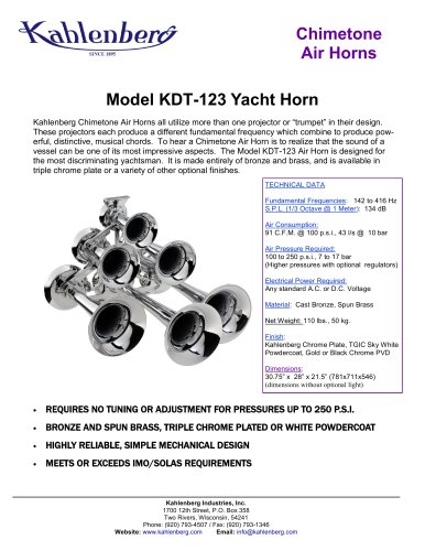 Model KDT-123 Yacht Horn