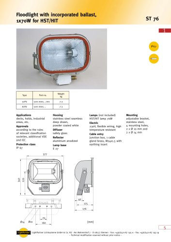deck floodlight for ships < 250 W (with incorporated ballast) ST76