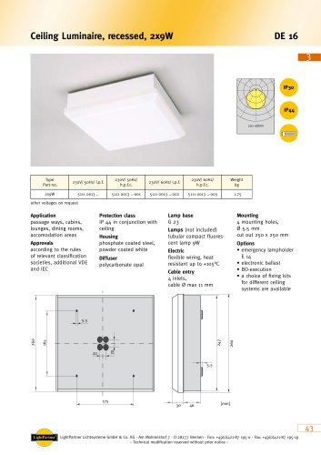 indoor ceiling-mounted luminaire for ships