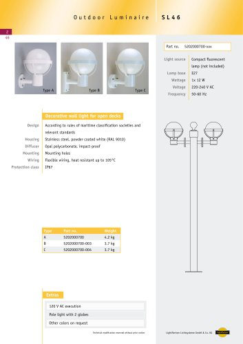 SL46 Outdoor Wall Light, surface, 1x 12 W