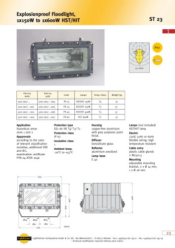 ST23 Explosionproof Floodlight, 1x 150 W to 1x 600 W HST/HIT