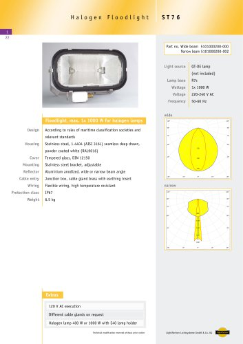 ST76 Floodlight for halogen lamps, max 1x 1000 W