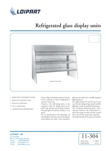 Marine refr. glass display unit