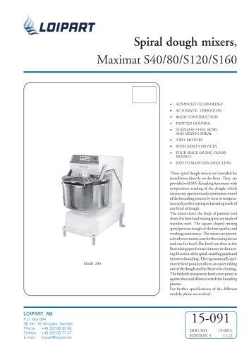 Marine Spiral Dough Mixer Maximat S40/80/S120/S160
