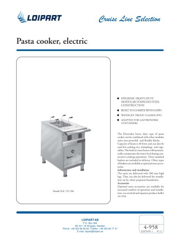Pasta cooker, electric