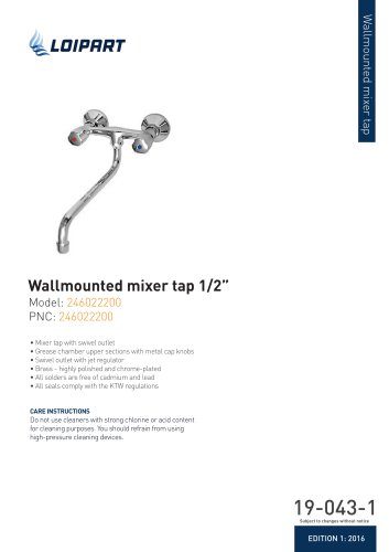 Wallmounted mixer tap