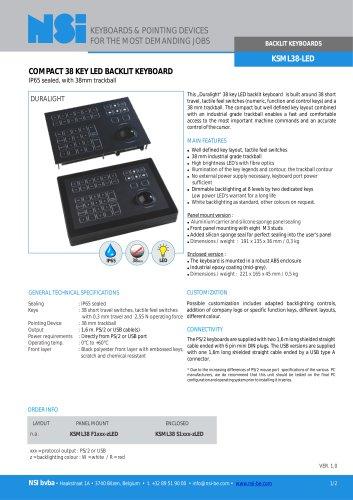 Backlit keyboard with 38mm trackball