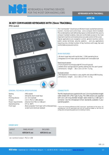 Commander keyboard with 25mm trackball