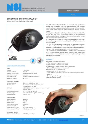 E38 - ERGONOMIC IP68 TRACKBALL UNIT