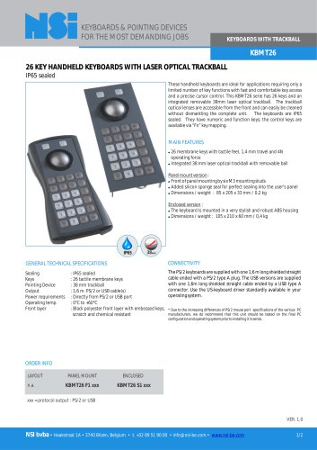 Handheld keyboard with 38mm optical trackball