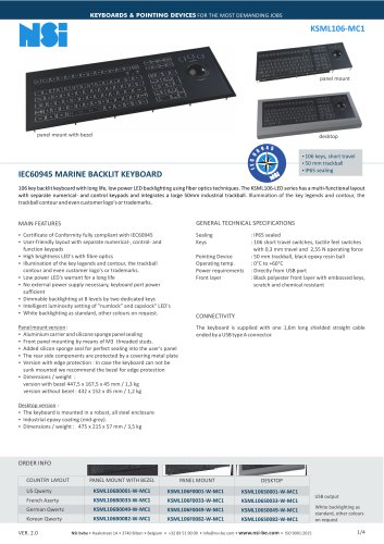 IEC60945 MARINE BACKLIT KEYBOARD