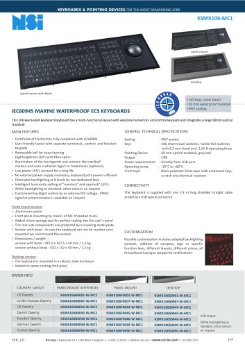 IEC60945 MARINE WATERPROOF ECS KEYBOARDS