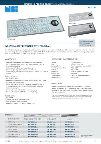 INDUSTRIAL IP67 KEYBOARD WITH TRACKBALL