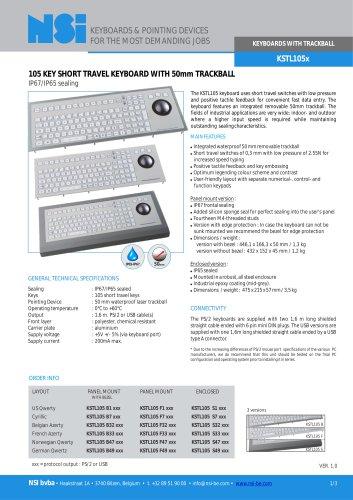 Industrial keyboard with 50mm laser trackball