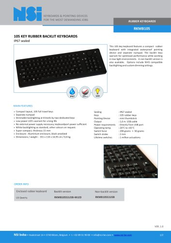 RKMB105 KEY RUBBER BACKLIT KEYBOARDS