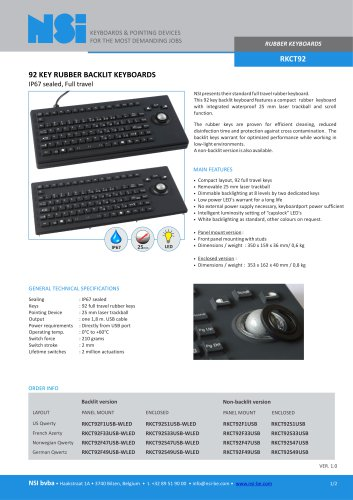 Rubber keyboard with 25mm trackball