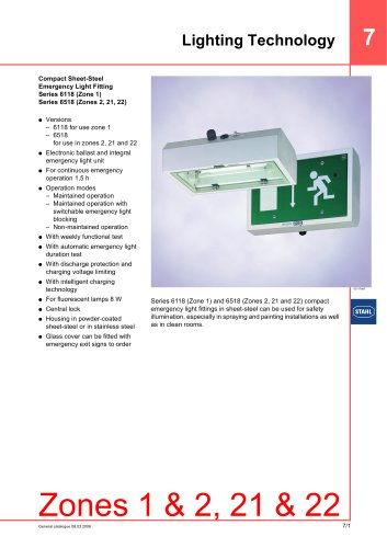 Compact Sheet-Steel Emergency Light Fitting Series 6118/Series 6518