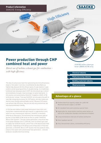 Power production through CHP combined heat and power