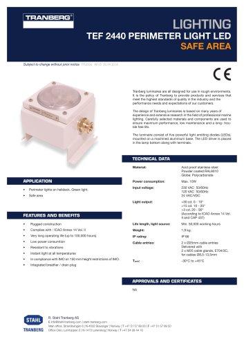 Datasheet TEF 2440 Perimeter light LED for helide