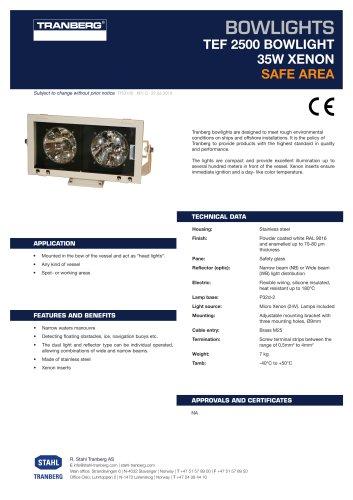 Datasheet TEF 2500 Bowlight [TPS3100]