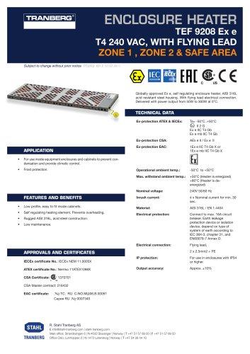 Datasheet TEF 9208 Enclosure heaterT4, 250 VAC