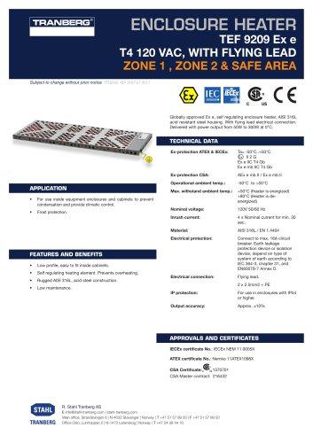 Datasheet TEF 9209 Enclosure heater T4, 120 VAC w