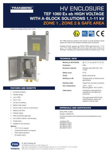 TEF 1060 Ex eb HIGH VOLTAGE WITH A-BLOCK SOLUTIONS 1,1-11 kV