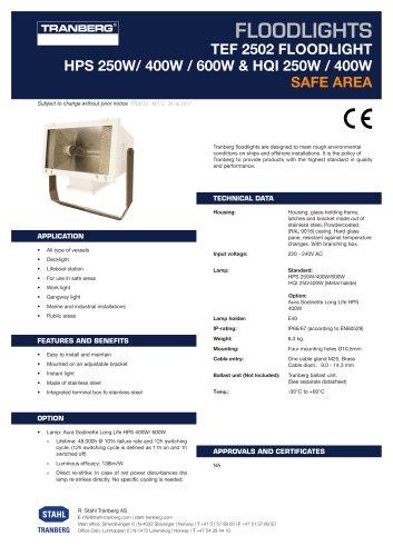 TEF 2502 Floodlight incl. Lightbulb: 400W, HPS, Wide Beam, E40, 230V, IP67, Stainless Steel