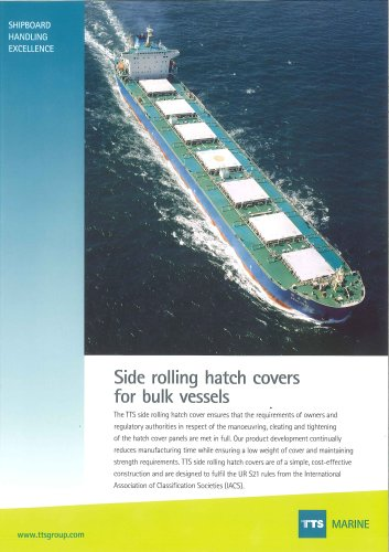 Side rolling hatch cover for bulk vessels