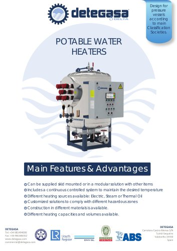 POTABLE WATER HEATERS / HYDROPHORE GROUPS