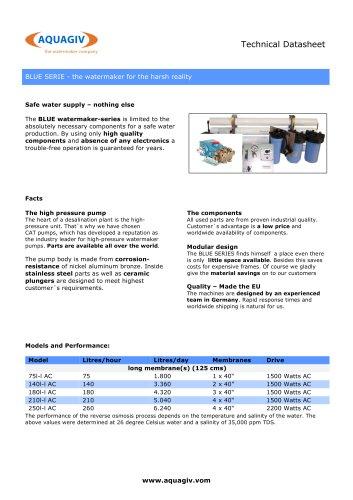 BLUE SERIE - Technical Datasheet