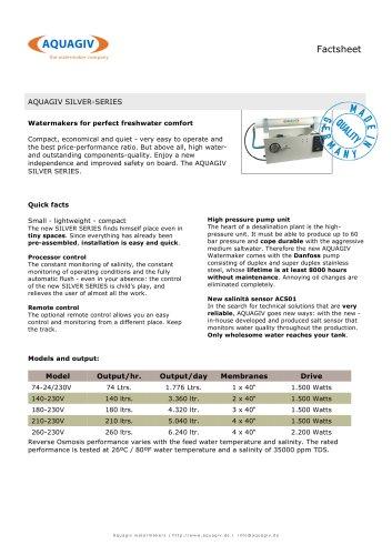 SILVER-SERIE - Technical Datasheet