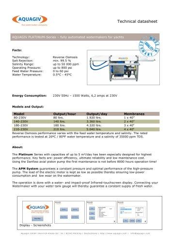 Technical Datasheet PLATINUM Series - English