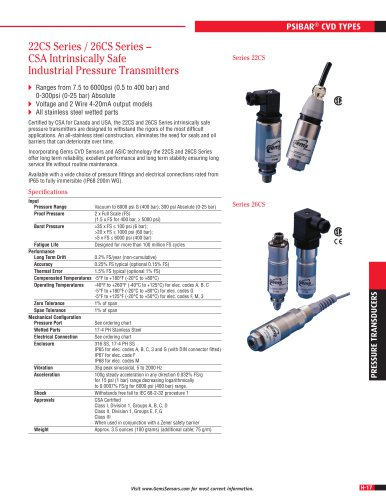 22CS Series / 26CS Series – CSA Intrinsically Safe Industrial Pressure Transmitters